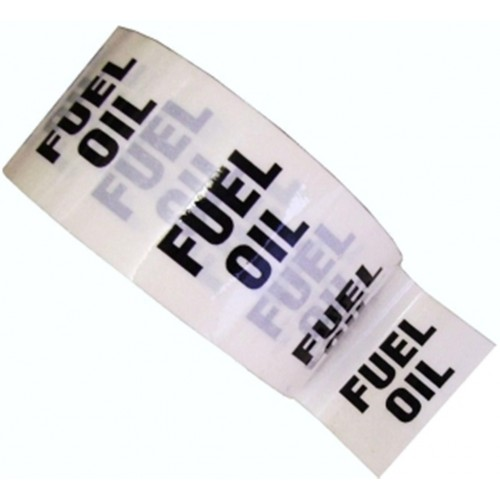 FUEL OIL - White Printed Pipe Identification (ID) Tape