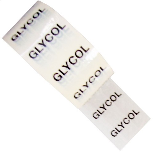 GLYCOL - White Printed Pipe Identification (ID) Tape