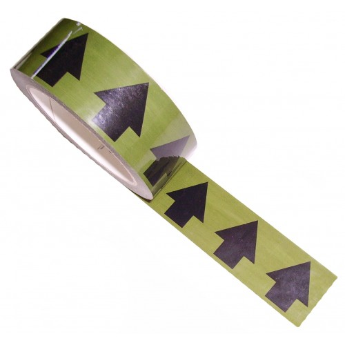 Arrows Across the Tape (38mm Black on Green) - Colour Printed Pipe Identification (ID) Tape