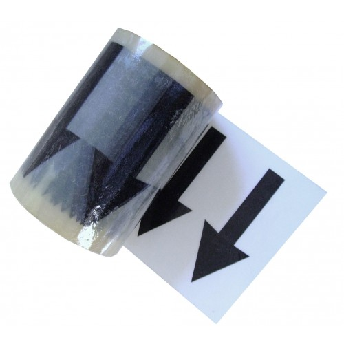 Arrows Across the Tape (144mm) - Clear Pipe Identification (ID) Tape