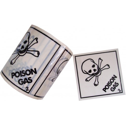2 Poison Gas - Premium Hazard Labels