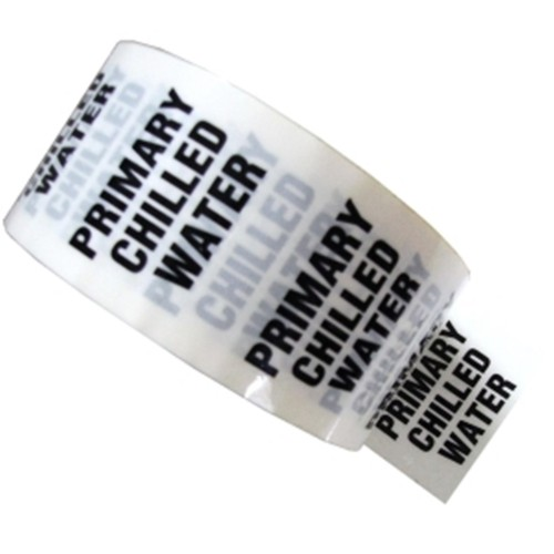 PRIMARY CHILLED WATER - White Printed Pipe Identification (ID) Tape