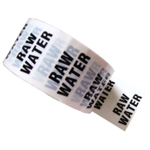RAW WATER - White Printed Pipe Identification (ID) Tape