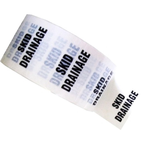 SKID DRAINAGE - White Printed Pipe Identification (ID) Tape