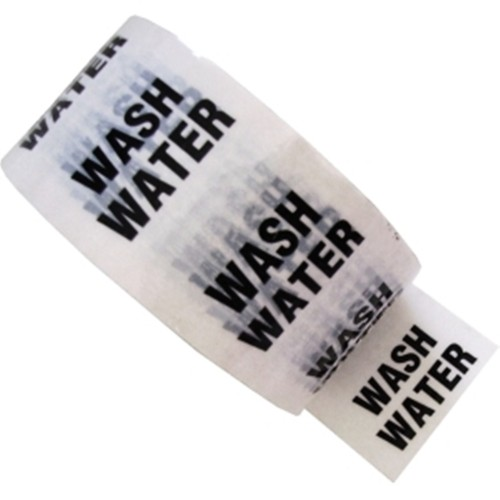 WASH WATER - White Printed Pipe Identification (ID) Tape